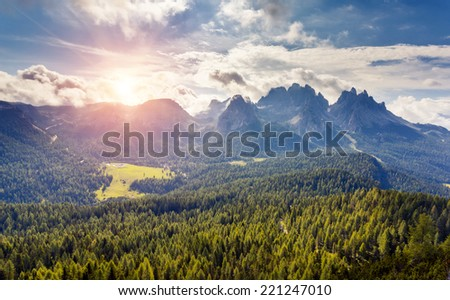 Great view of the Cadini di Misurina range from Monte Piana in National Park Tre Cime di Lavaredo. Dolomites, South Tyrol. Location Auronzo, Italy, Europe. Dramatic overcast sky. Beauty world. - stock photo