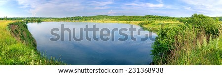 great view of the lake - stock photo