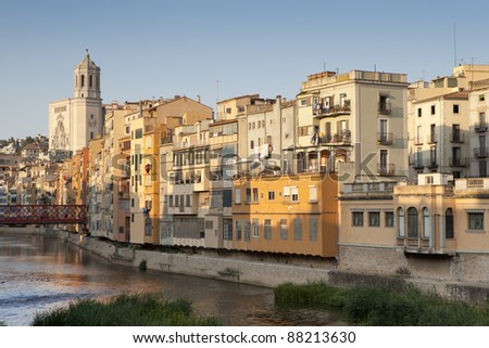 Great view of the most important piece of architecture of Girona, Girona Cathedral