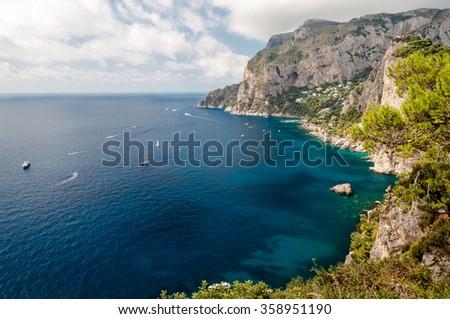 Great view of Tyrrhenian sea and Marina Piccola at Capri - Italy - stock photo