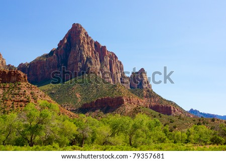Great view of Zion Canyon National Park, Utah - stock photo
