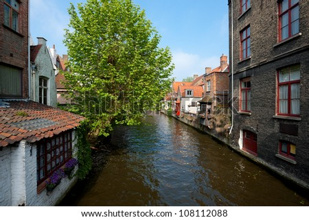 Great view on a channel in Brugge, Belgium. GPS information is in the file.