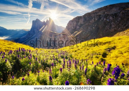 Great view on the  Puez Odle - Geisler group. National Park valley Gardena. Dolomites, South Tyrol. Location Ortisei, S. Cristina and Selva Gardena, Italy, Europe. Dramatic unusual scene. Beauty world - stock photo