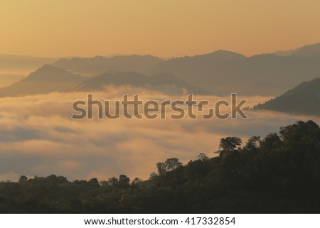 Great views of Sunrise with mountains and cloud.