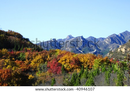 great wall and  red leaves