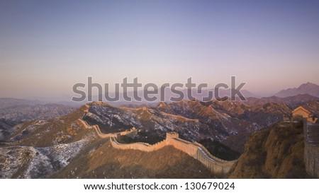 Great Wall of China at Sunrise. - stock photo