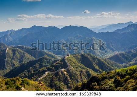 Great wall of China in a misty day - stock photo