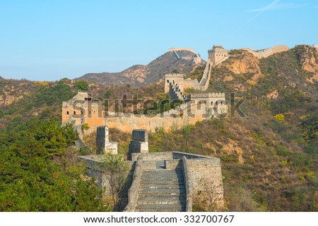 Great Wall of China in autumn with beautiful sky