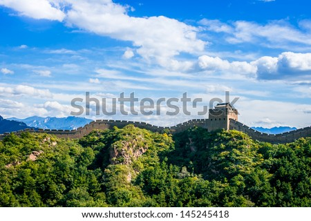 Great Wall of China in summer day, Jinshanling section near Beijing - stock photo