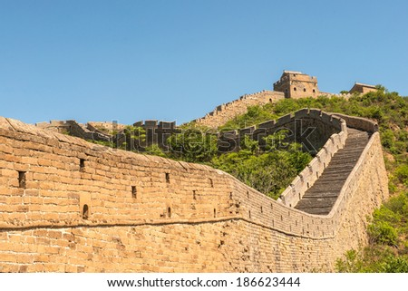 Great Wall of China in Summer with beautiful sky - stock photo