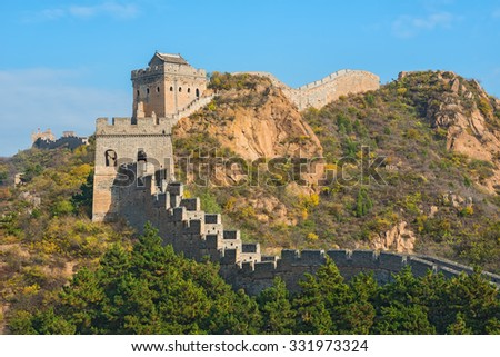 Great Wall of China with blue sky