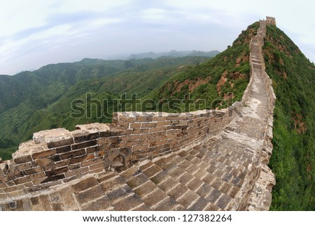 Great Wall ruins in Simatai area,  about 120km from Beijing. Fish-eye lens used. - stock photo