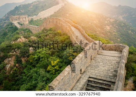 Great wall under sunshine during sunset??in Beijing, China - stock photo