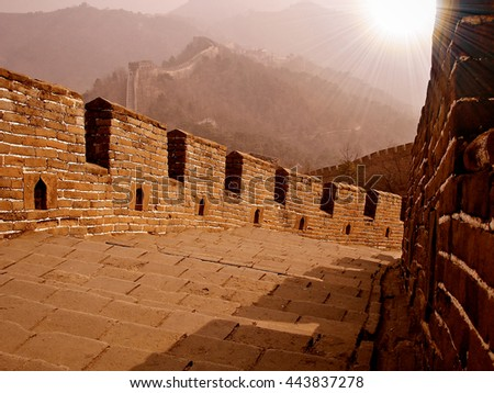 great wall with sun