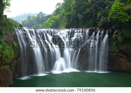 Great waterfall - stock photo
