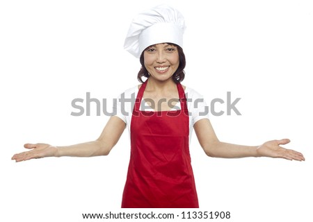Great welcome by experienced asian female chef. All against white background