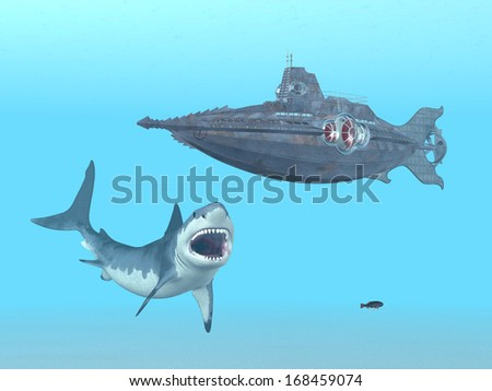 Great White Shark and Submarine Computer generated 3D illustration - stock photo