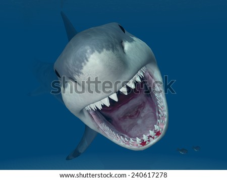 Great White Shark Attack Computer generated 3D illustration - stock photo