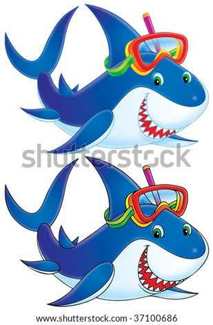 Great White Shark (color and black contours of drawing) - stock photo