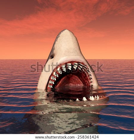 Great White Shark Computer generated 3D illustration - stock photo