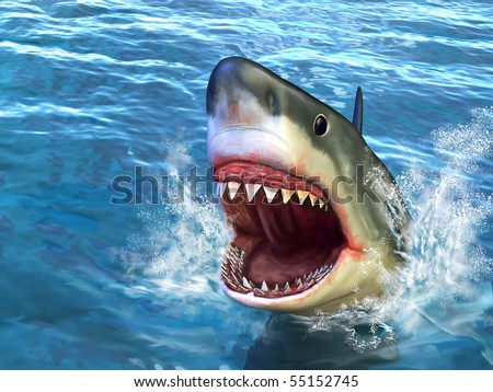 Great white shark jumping out of water with its open mouth. Digital illustration. - stock photo