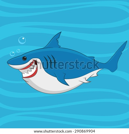 great white shark. Raster illustration. - stock photo