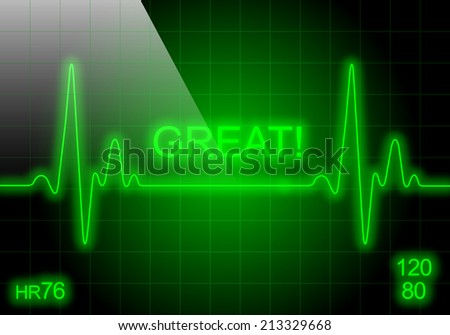 GREAT - written on green heart rate monitor expressing excellent heart condition