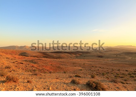 Greate landscape at the bottom of the Big Crater (HaMakhtesh HaGadol) in Israel - stock photo