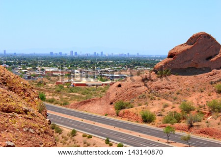 Greater Phoenix Metro area as seen from Papago park mountains, Arizona  - stock photo