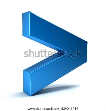 Greater Than Math Symbol 3d Rendering Stock Illustration 539041219