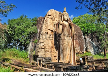 greatest buddhistic landmarks - Awukana , Sri lanka - stock photo