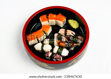 Greatest set and tasty of sushi a Japanese food menu isolated - stock photo