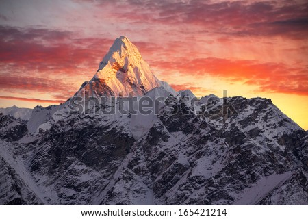 Greatness of nature. Ama Dablam peak (6856 m) at sunset. Nepal, Himalayas.     Canon 5D Mk II. - stock photo