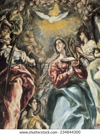 Greco Domenikos Theotokopoulos called El Greco (1541-1614), The Assumption, 1607 - 1613, Detail, Mannerism art, Oil on canvas,