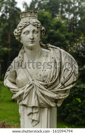 Greco-Roman Statue at the Museum-Estate of Arkhangelskoye Palace, Russia.