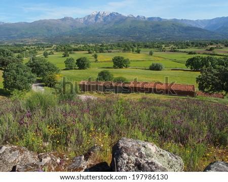 Gredos`s mountain from Candeleda. Avila. Spain - stock photo