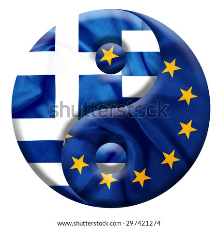 Greece and E.U flags with silk texture on Yin and Yang symbol