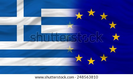 Greece and European Union Flag  - stock photo