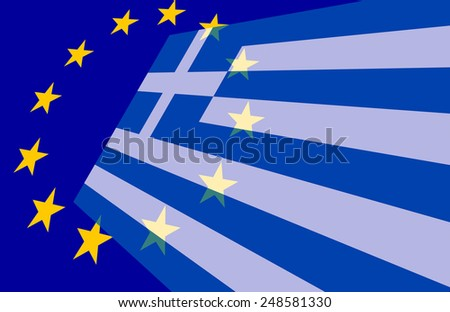 Greece and European Union Flag  - stock photo