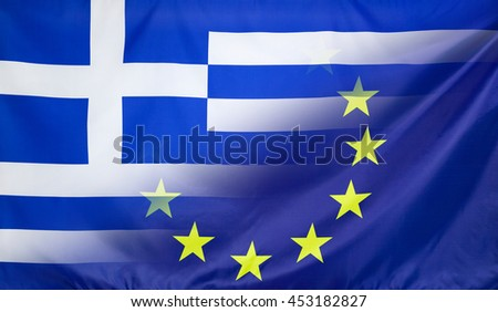 Greece and European Union relations concept with diagonally merged real fabric flags