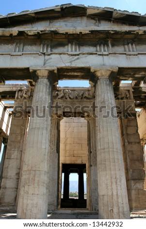Greece, Athens. Ancient Agora. Temple Hephaisteion (Theseion). - stock photo