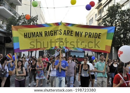 GREECE, Athens JUNE 14, 2014: Participants attend the annual Gay Pride parade in Athens in front of the Greek parliament.