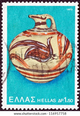 "GREECE - CIRCA 1973: A stamp printed in Greece from the ""Archaeological Discoveries, Island of Thera (Santorini)"" issue shows Bird (jug), circa 1973. - stock photo"