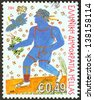 "GREECE - CIRCA 2004: A stamp printed in Greece from the ""Paralympic Games: The Power of Will"" issue shows Handicapped runner, circa 2004. - stock photo"