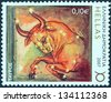 """GREECE - CIRCA 2007: A stamp printed in Greece from the """"Zodiac"""" issue shows Taurus, circa 2007. - stock photo"""