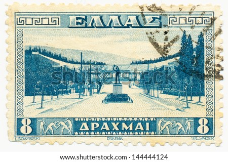 GREECE - CIRCA 1933: A stamp printed in Greece, shows Approach to Athens Stadium, circa 1933