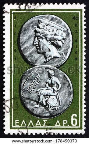 GREECE - CIRCA 1959: a stamp printed in the Greece shows Aphrodite and Apollo, Ancient Greek Coin, circa 1959 - stock photo