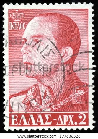 GREECE - CIRCA 1957: a stamp printed in the Greece shows Paul, King of Greece, circa 1957  - stock photo