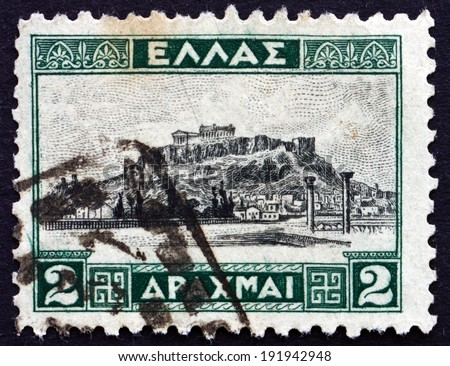 GREECE - CIRCA 1927: a stamp printed in the Greece shows The Acropolis of Athens, is an Ancient Citadel Located on a high Rocky Outcrop above the City of Athens, circa 1927
