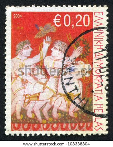GREECE - CIRCA 2004: stamp printed by Greece, shows Horses and riders, circa 2004 - stock photo